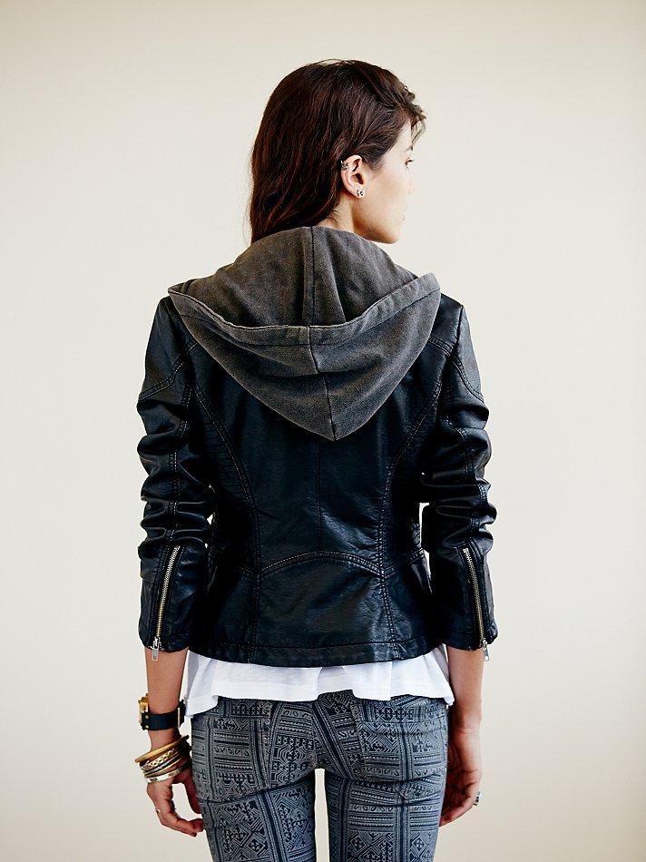 Free People Vegan Leather Hooded Biker Jacket In Black Lyst