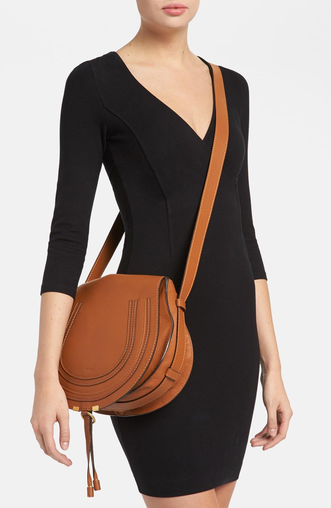 Chloe Marcie Medium Saddle Bag Tan Clhoe Bag