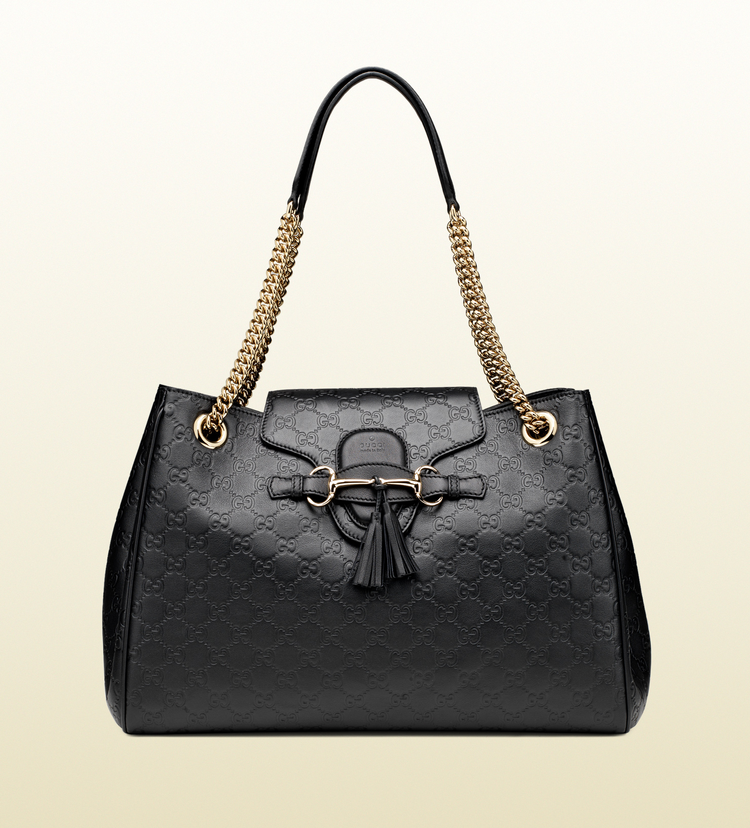 26e2d90ade6 Gucci Emily Chain Ssima Leather Shoulder Bag In Black Lyst - Modern ...