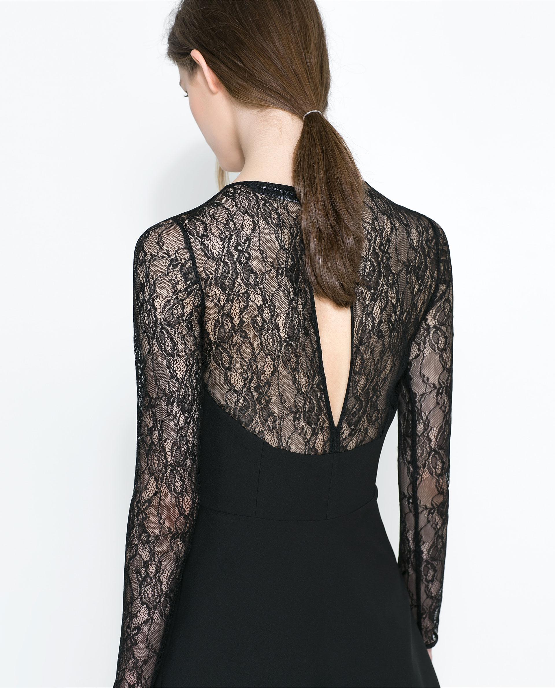 Zara Black Dress Lace Sleeves