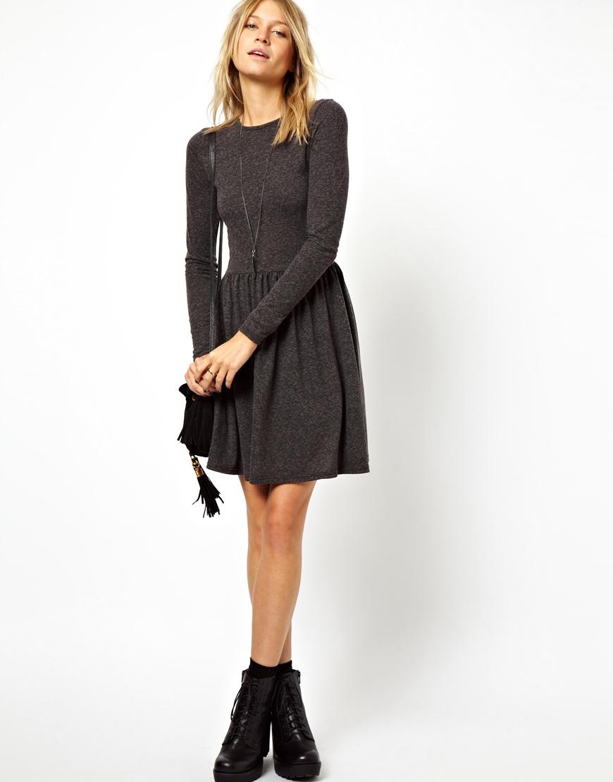 Lyst Asos Skater Dress In Nepi With Long Sleeves In Black