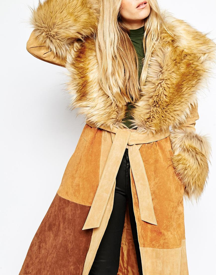 Asos Coat In Suede With Faux Fur Collar In Natural Lyst