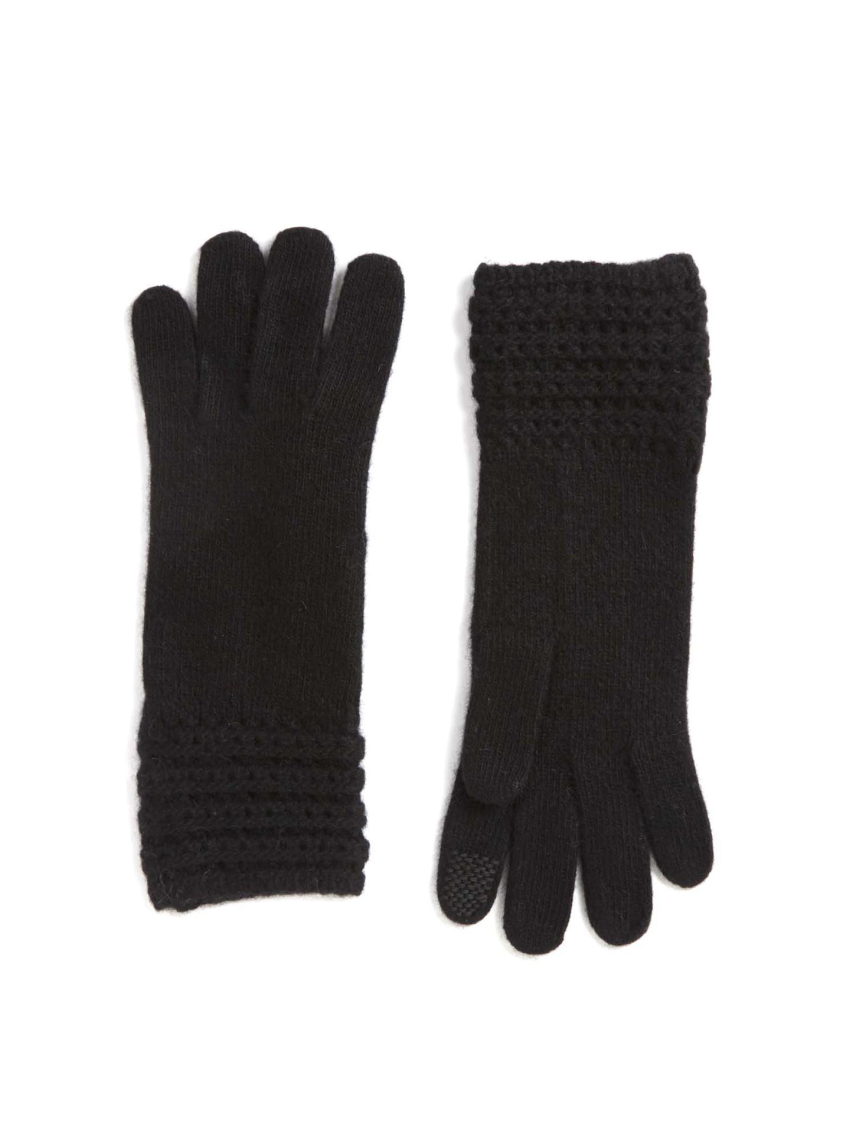 Portolano Detailed Cashmere Gloves In Black