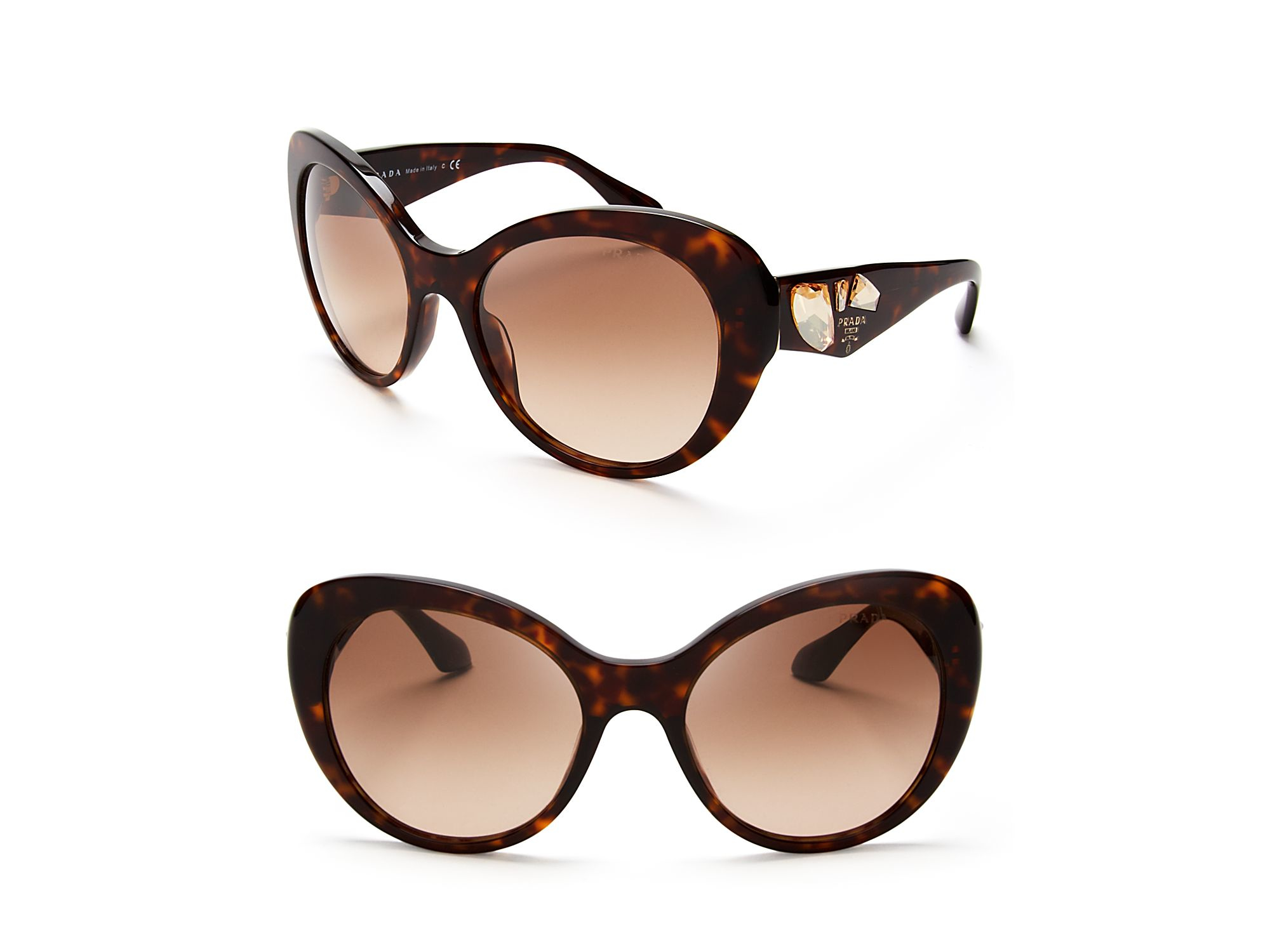 Prada Oversized Crystal Cat Eye Sunglasses In Brown Lyst