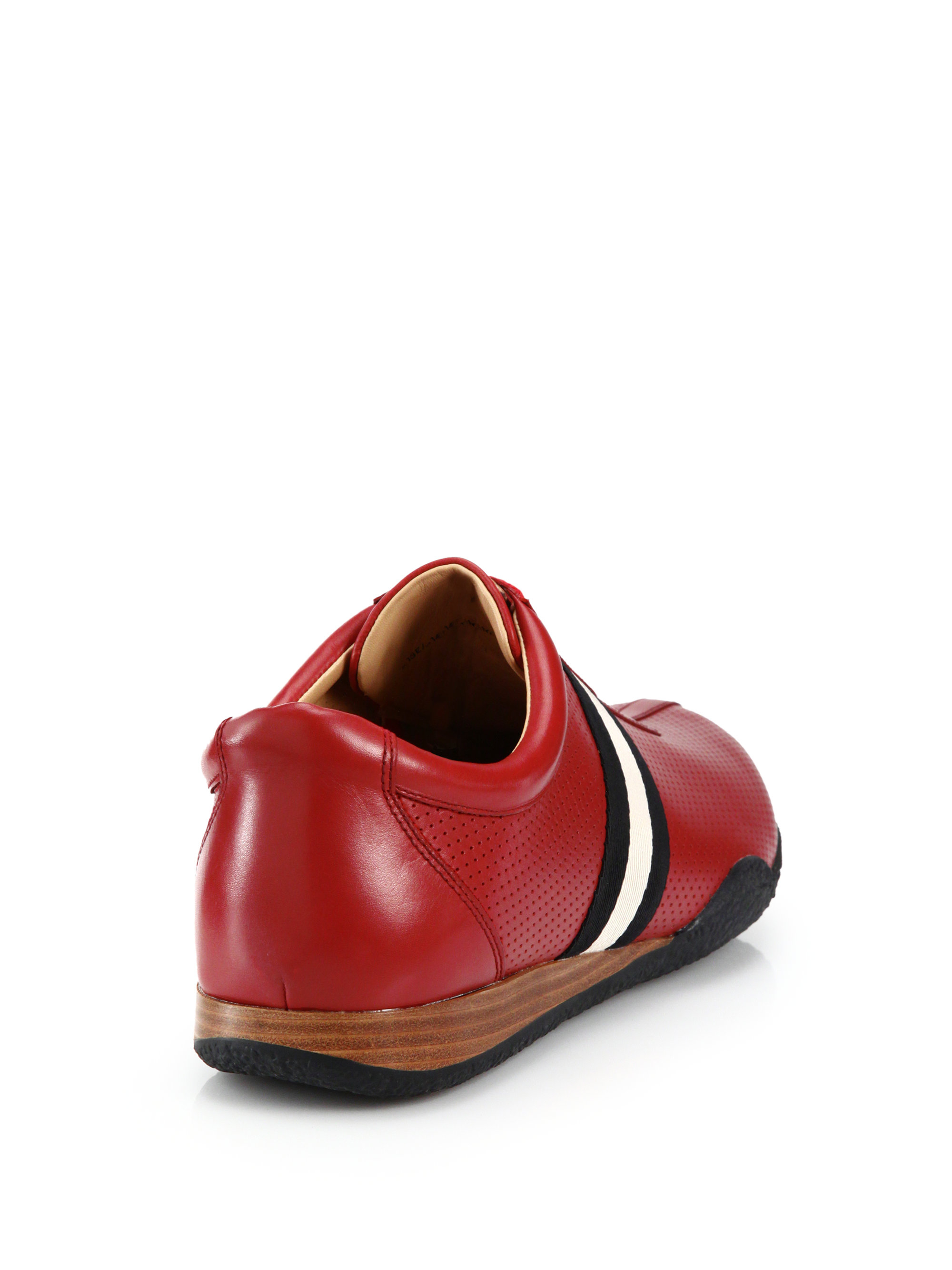 Bally Perforated Leather Lace Up Sneakers In Red For Men