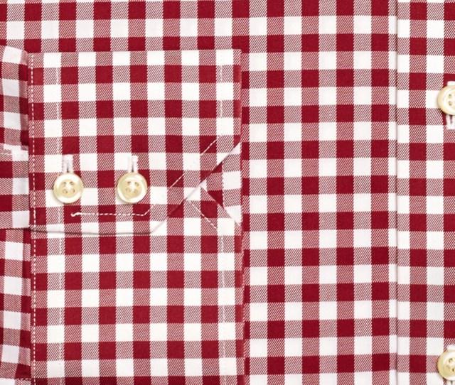 Mens Burgundy Gingham Dress Shirt