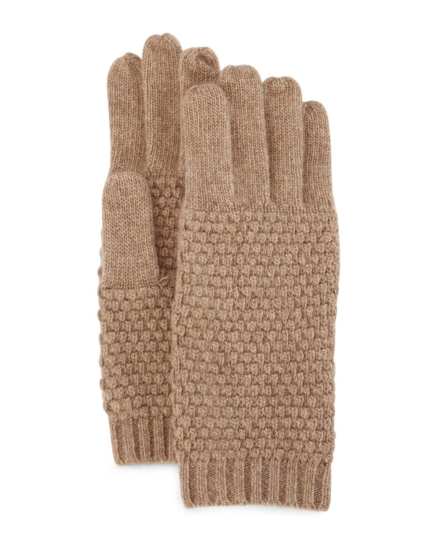 Portolano Cashmere Popcorn Knit Gloves In Brown