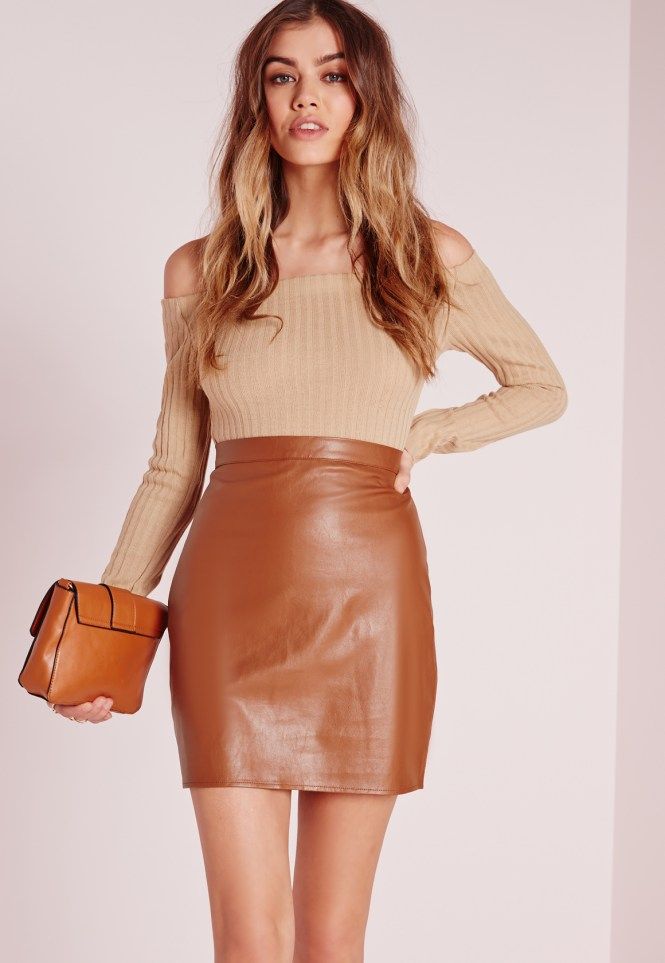 Tan Leather Mini Skirt - Skirts