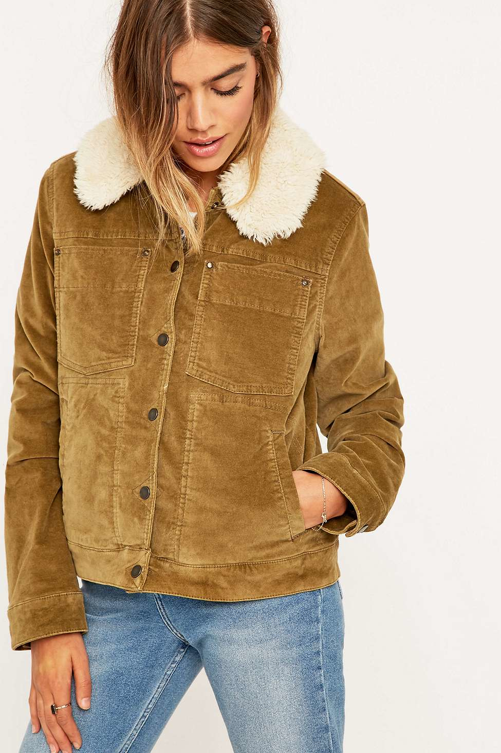 Free People Corduroy Sherpa Jacket In Metallic Lyst