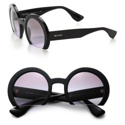 7a4754f1f03 Lyst Miu Miu Cropped 52Mm Round Sunglasses In Black
