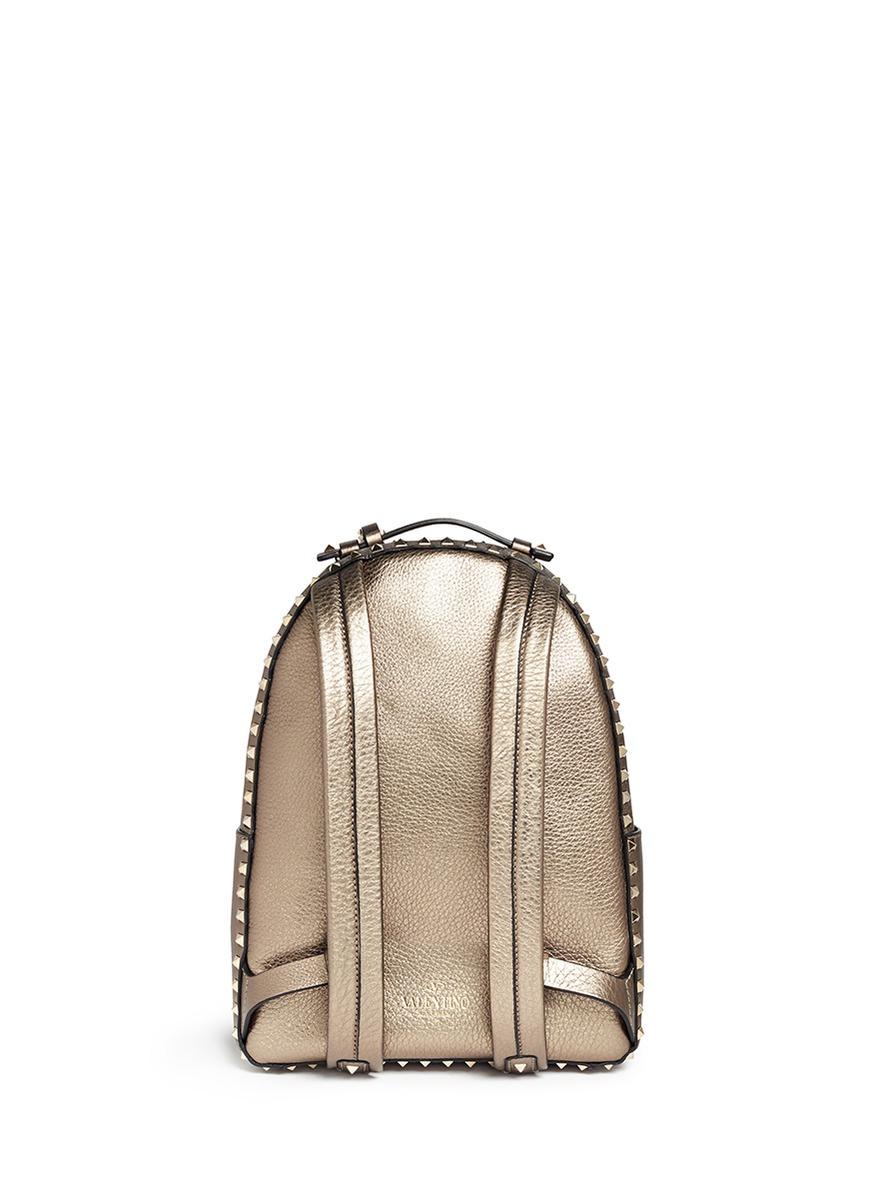 Valentino Rockstud Metallic Backpack In Metallic Lyst