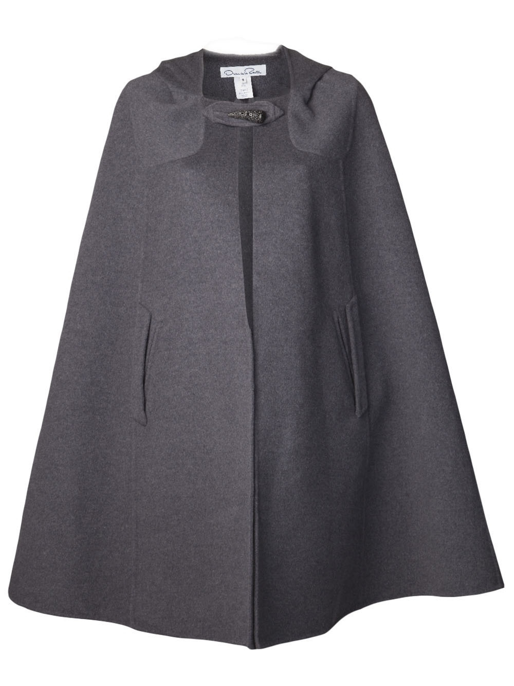 Lyst Oscar De La Renta Long Cape Coat In Gray