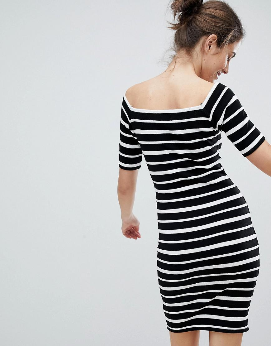 da5154ad8bf8 Lipsy Off Shoulder Bodycon Dress In Stripe Lyst