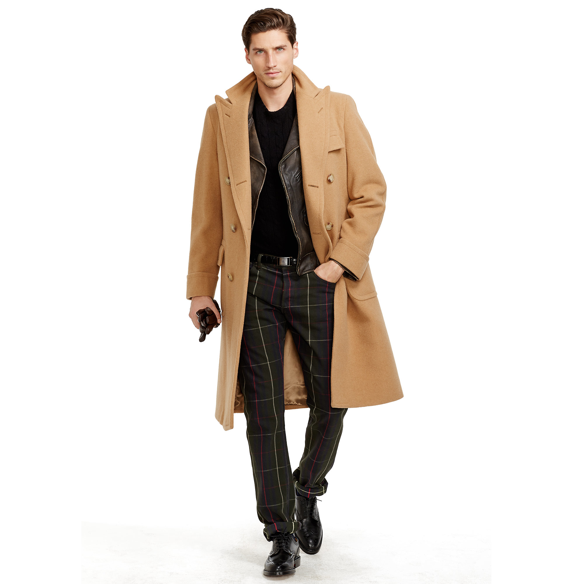 Polo Ralph Lauren Camel Hair Polo Coat In Natural For Men