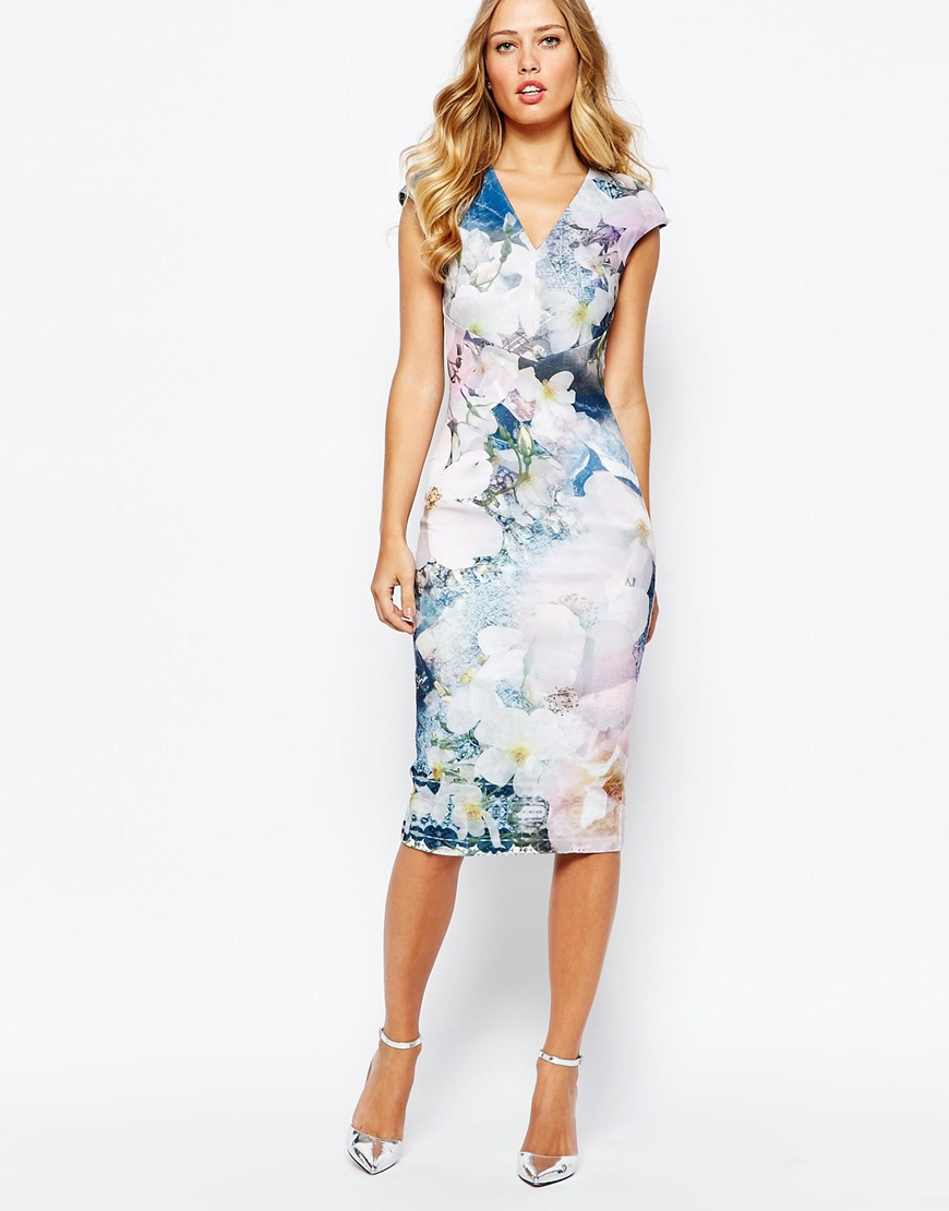 Ted Baker Navy Blue Floral Dress