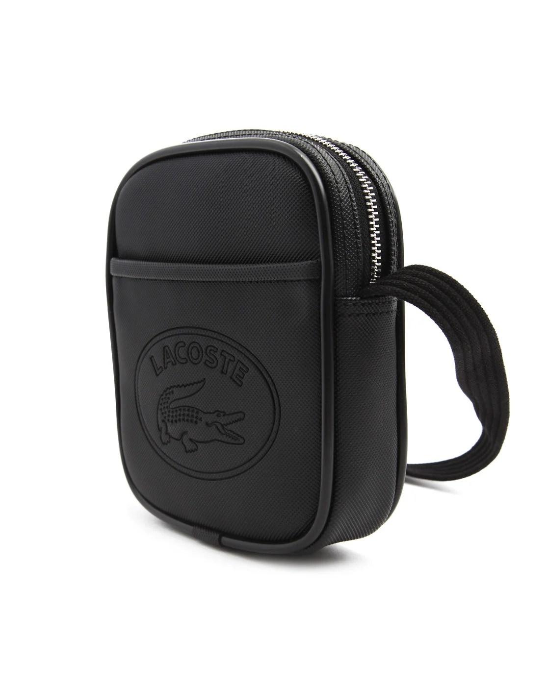 Lacoste Black Pvc Small Bag In Black For Men Lyst