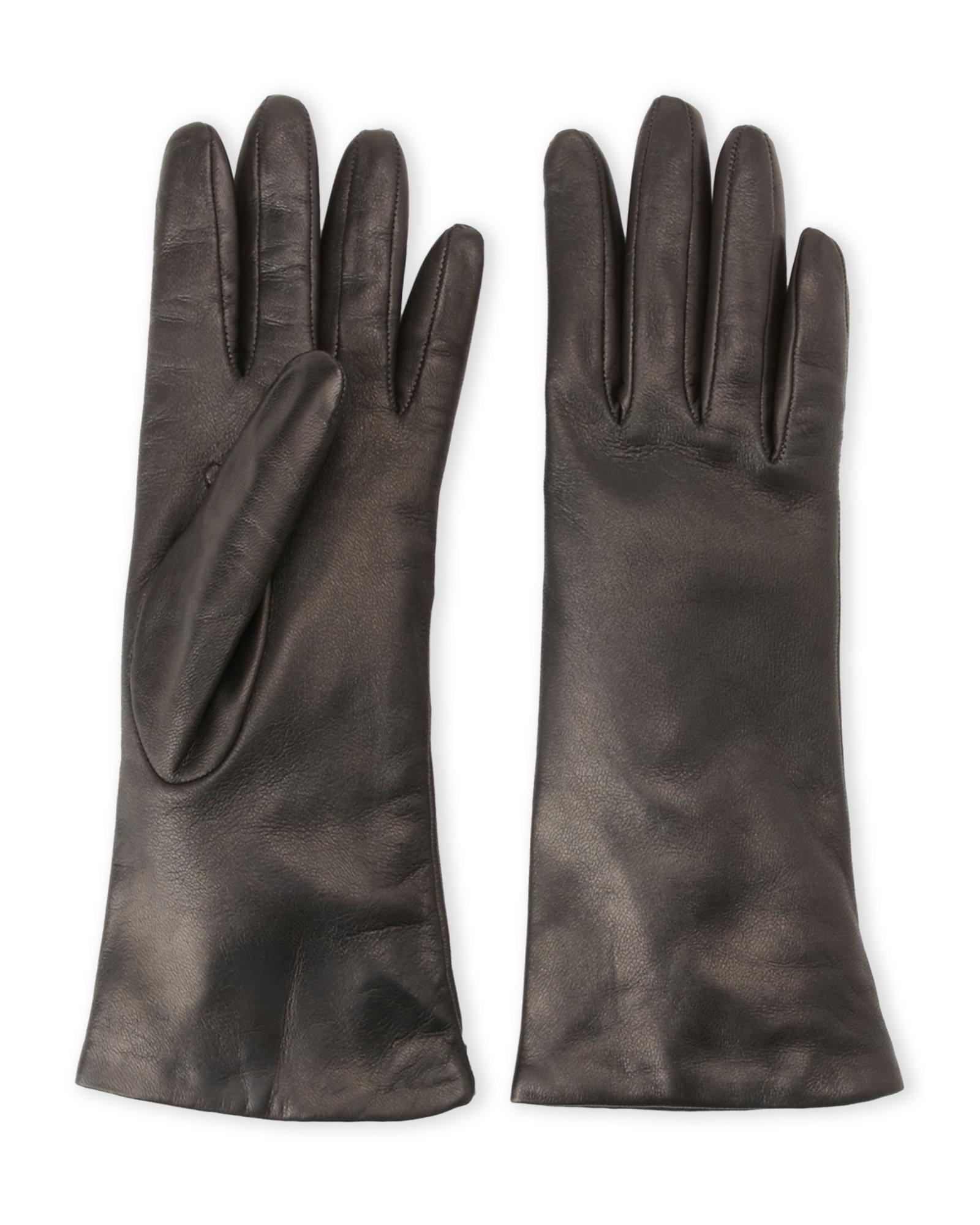 Portolano Black Leather Gloves In Black