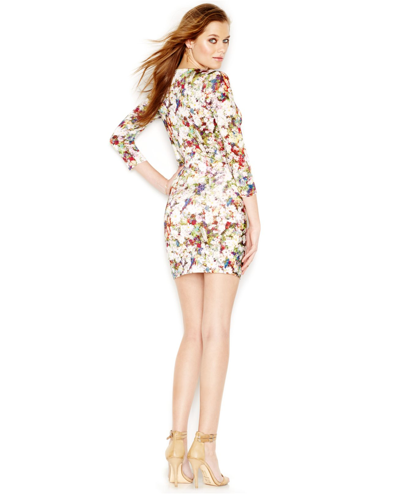 Guess Three Quarter Sleeve Floral Print Plunging V Neck Dress