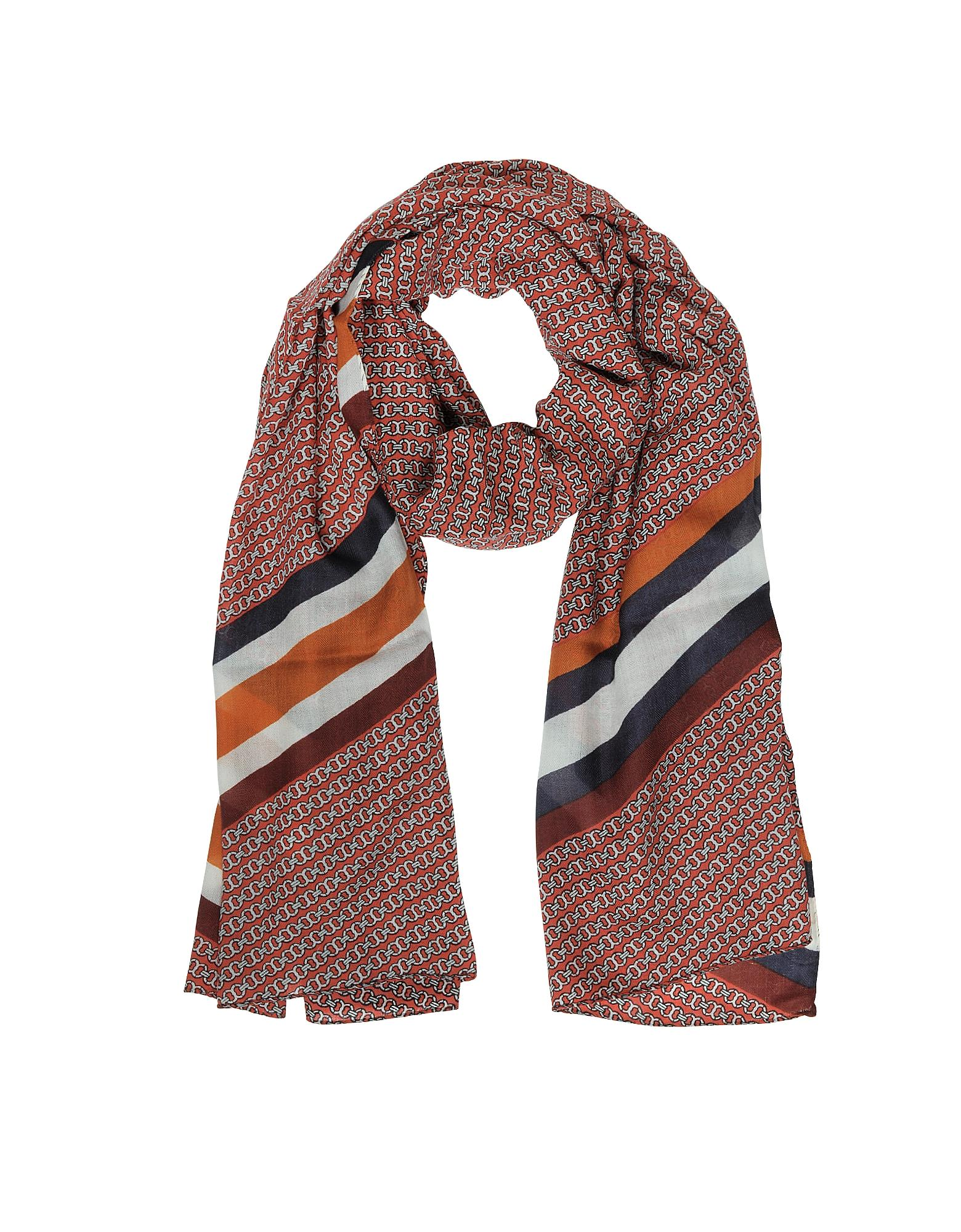 Tory Burch Gemini Link Striped Oblong Wool Scarf In Red Lyst