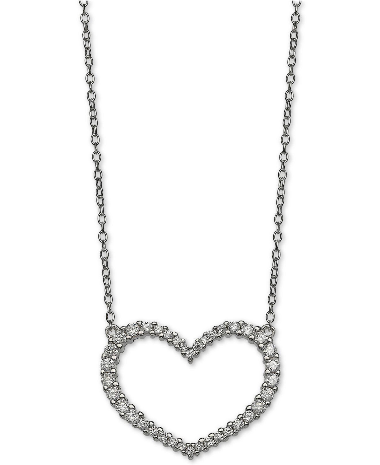 Giani Bernini Cubic Zirconia Heart 18 Pendant Necklace In