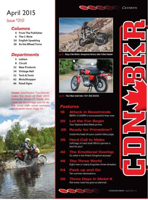 Canadian Biker - April 2015 Contents