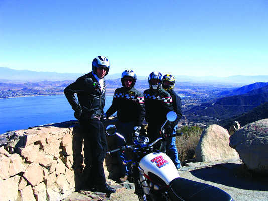 overlooking lake Elsinore with a motorcycle