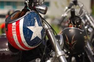 vintage motorcycle meet captain America helmet
