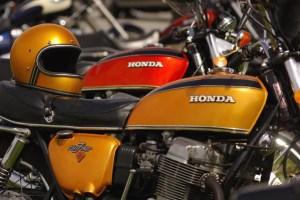 vintage motorcycle meet old gold Hondas