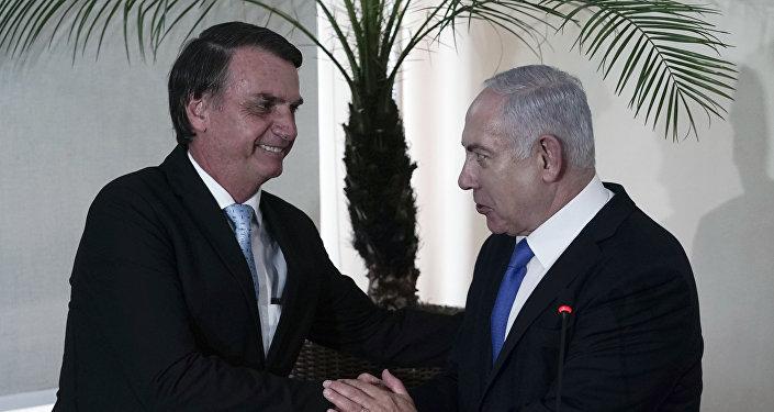 Jair Bolsonaro e Benjamin Netanyahu durante encontro no Rio de Janeiro
