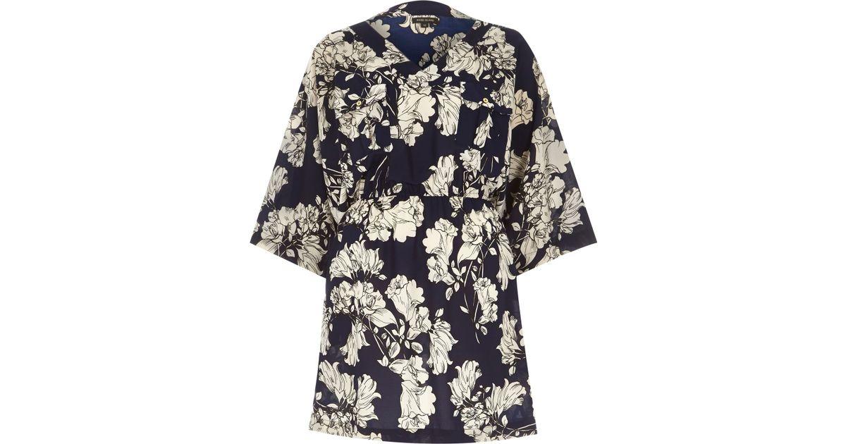 River Island Blue Floral Print Kimono Dress