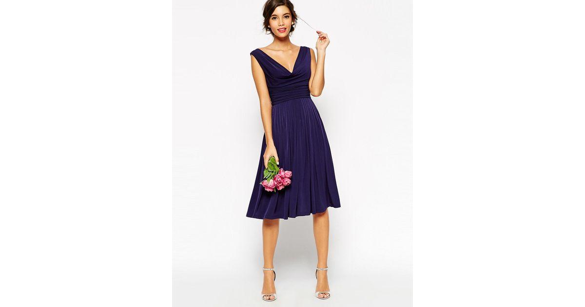 Asos Wedding Drape Cowl Neck Pleated Midi Dress In Blue
