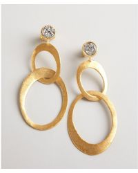 Marcia Moran Gold And Silver Agate Druzy Linked Drop Earrings Lyst