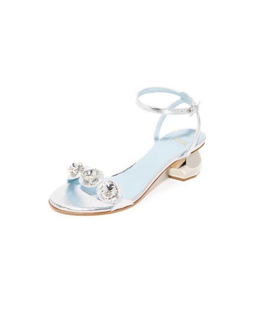 Frances Valentine Beatrix Crystal City Sandals In Metallic