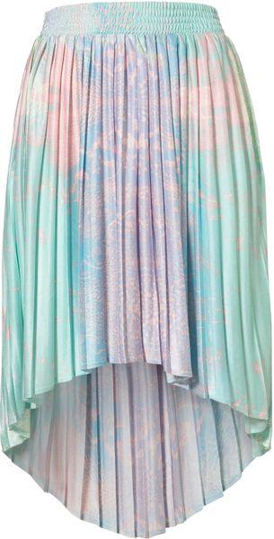 Topshop Earth Printed Dip Back Skirt in Multicolor (multi)