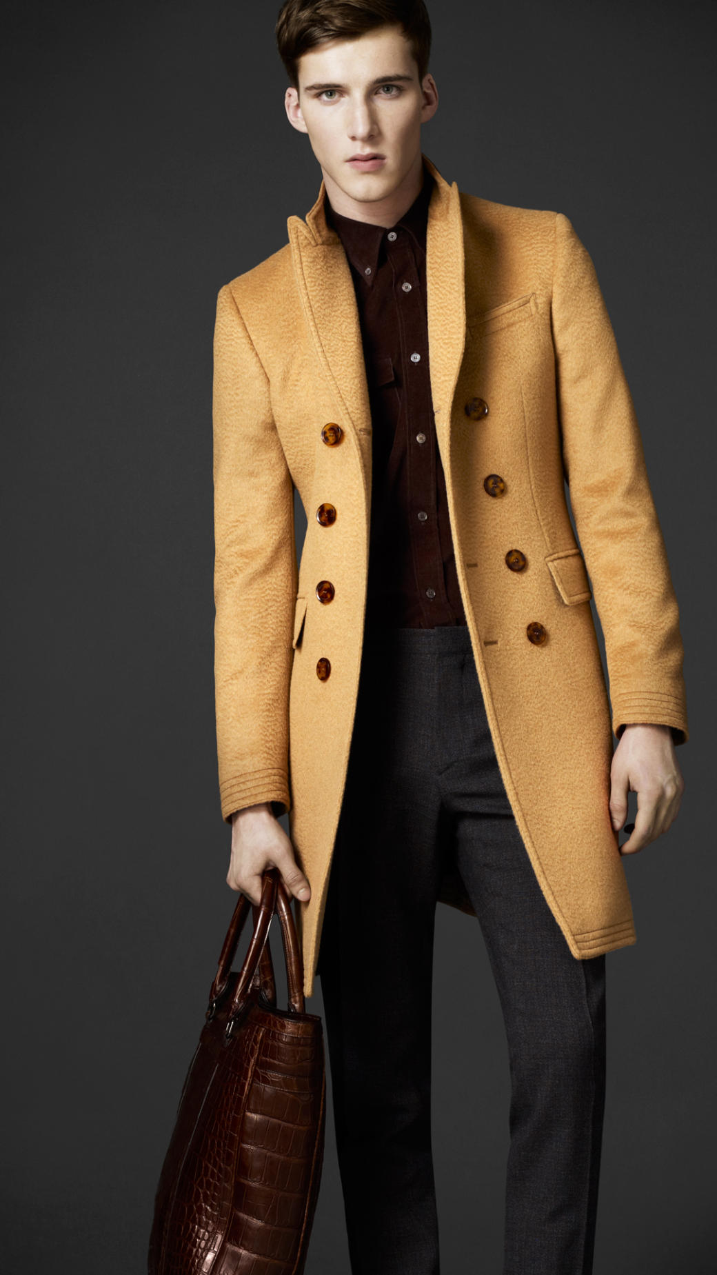 Lyst Burberry Camel Hair Top Coat In Natural For Men