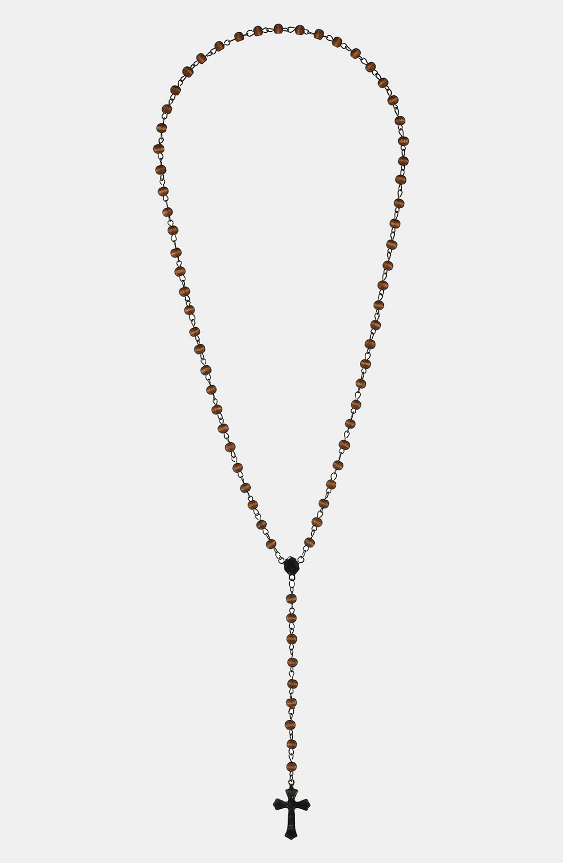 Topman Wood Bead Rosary Pendant Necklace In Black For Men