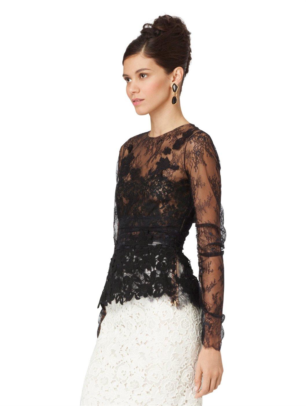 Lyst Oscar De La Renta Long Sleeve Lace Blouse In Black