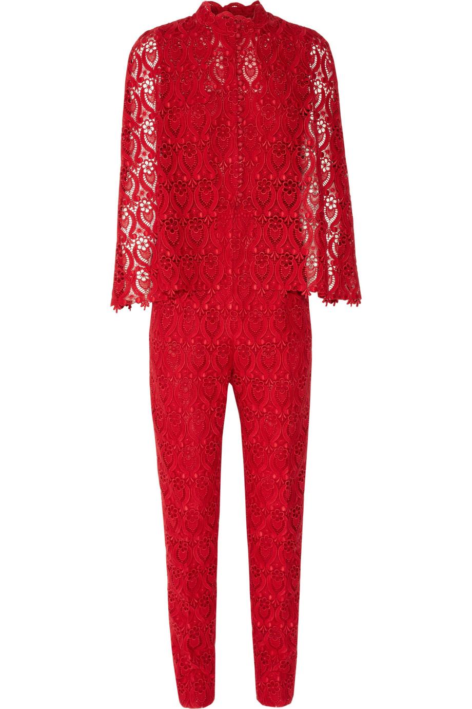 Valentino Macramlace Jumpsuit In Red Lyst