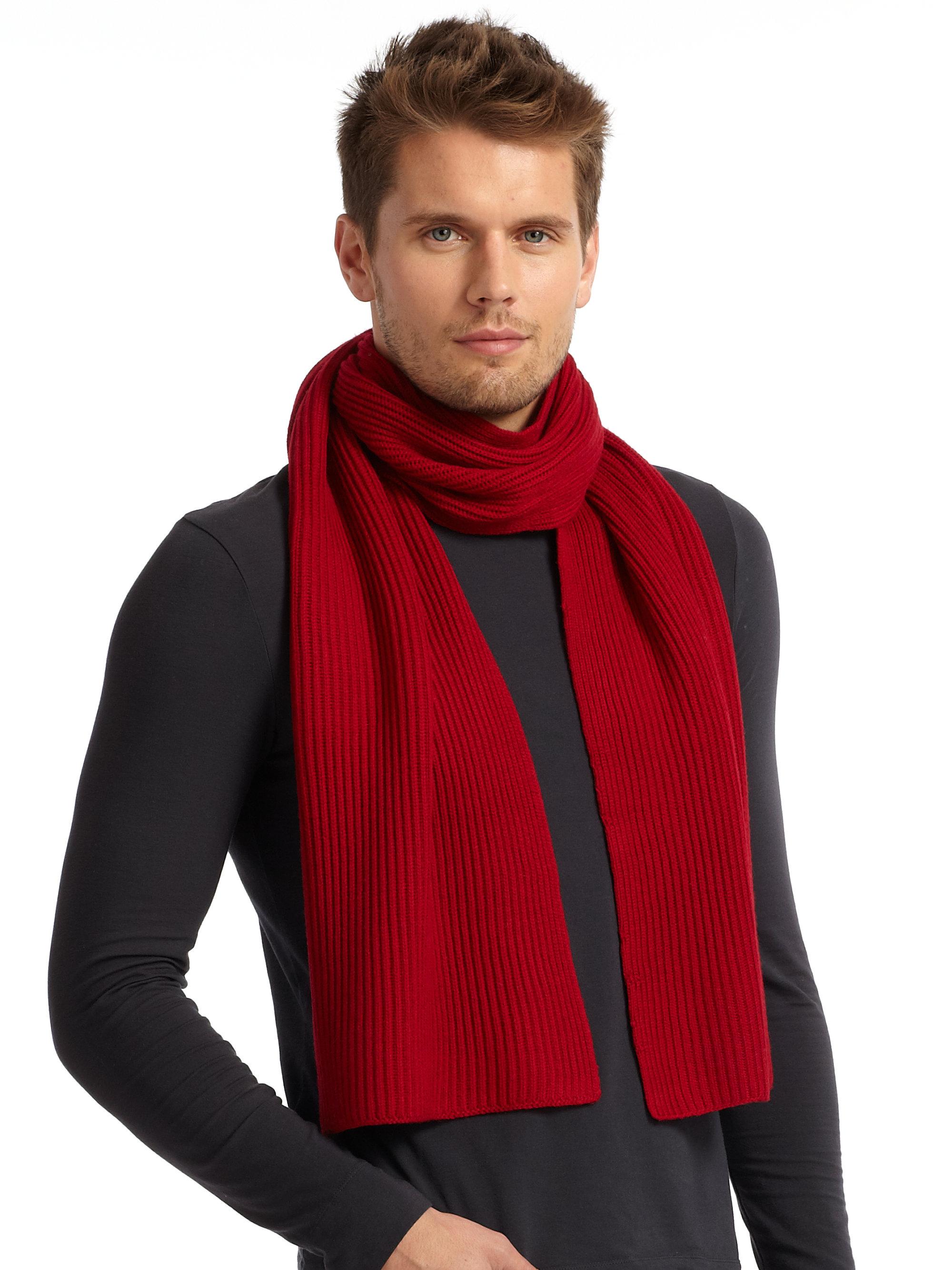 Portolano Extrafine Italian Merino Wool Ribbed Scarf Red