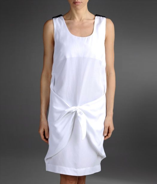 Emporio Armani Loose Fitting Dress in Linen and Viscose ...