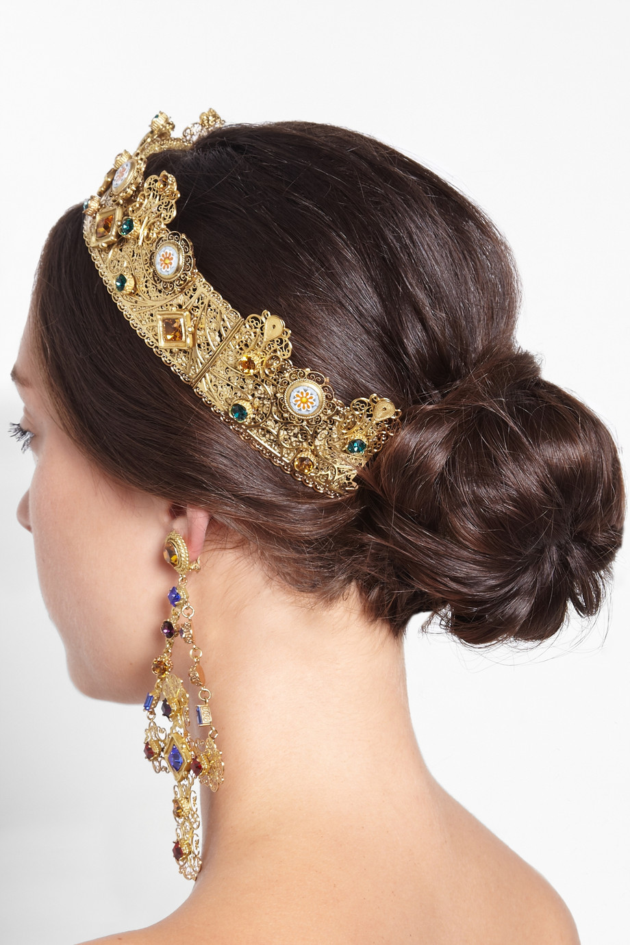 Lyst Dolce Amp Gabbana Goldplated Swarovski Crystal Crown