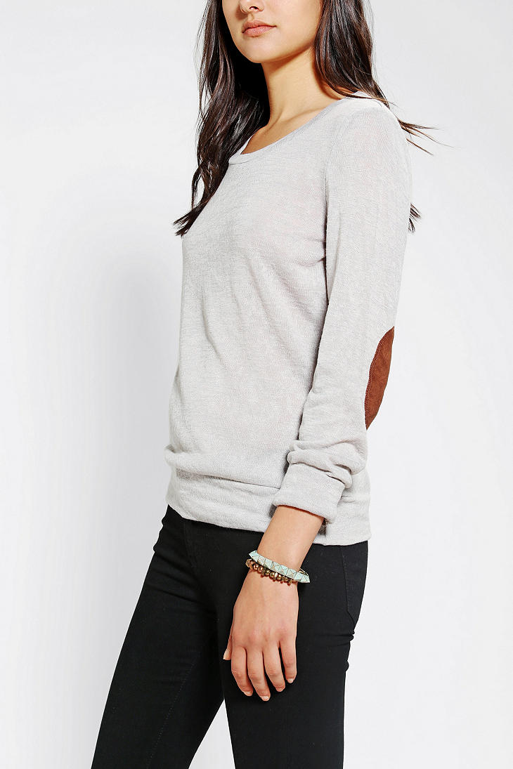 Urban Outfitters Glamorous Slub Elbow Patch Shirt In Gray