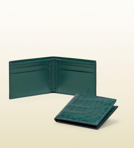 Gucci Crocodile Bifold Wallet In Green For Men Teal Lyst