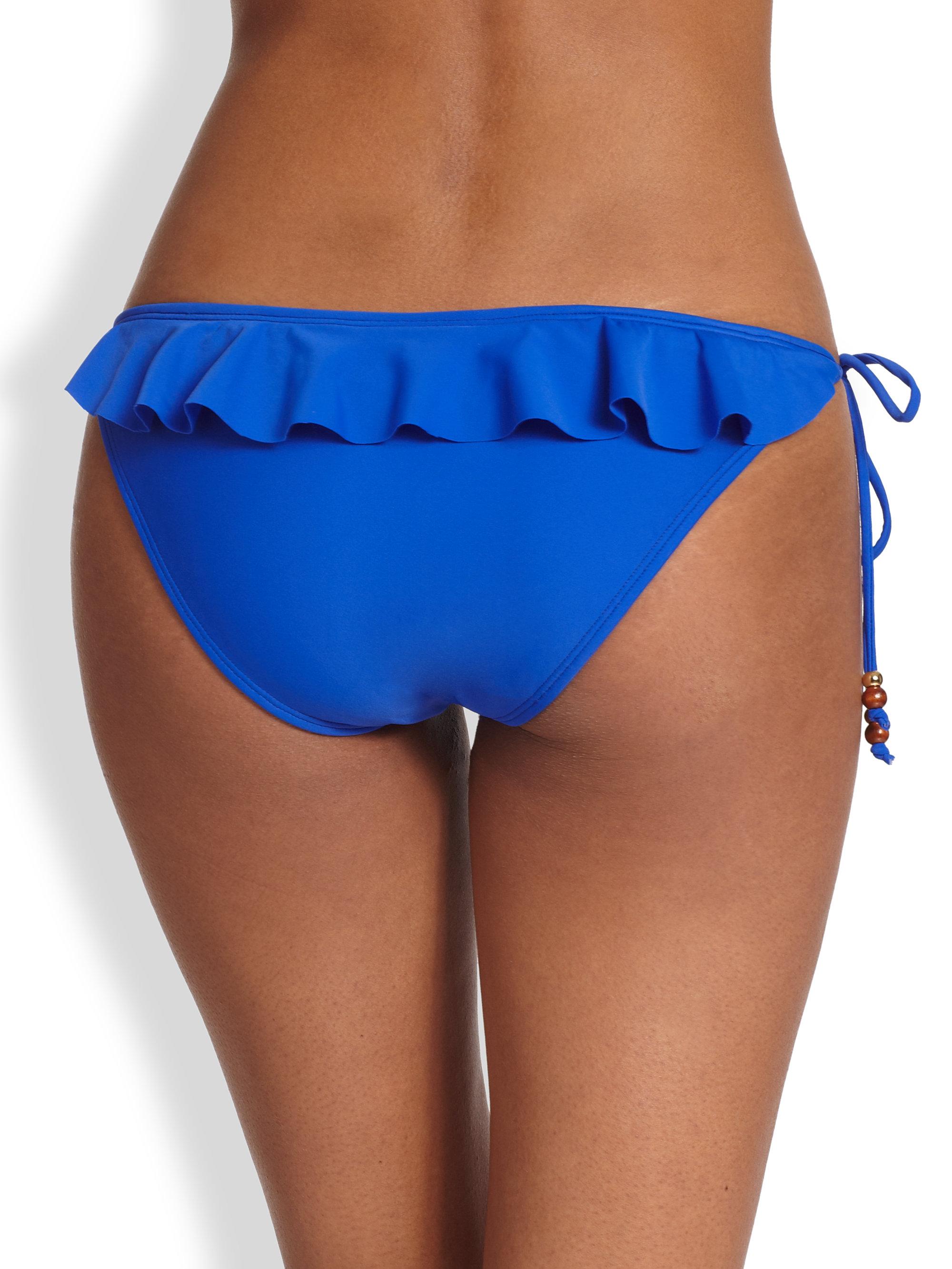 Shoshanna Ruffle String Bikini Bottom In Blue Lyst