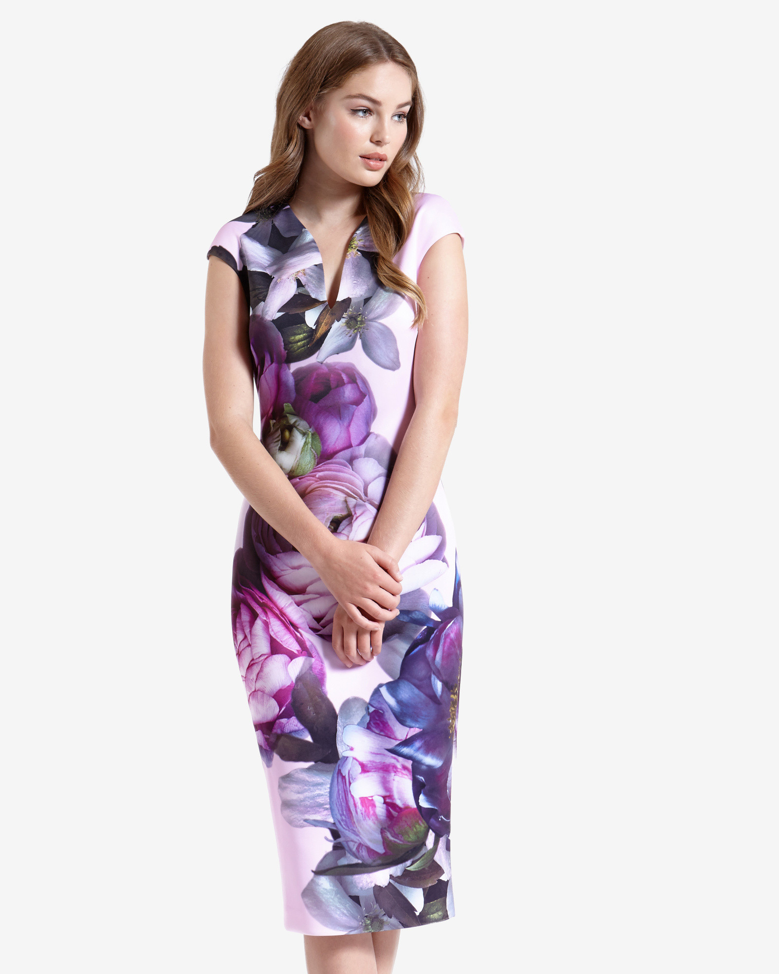Lyst Ted Baker Sunlit Floral Midi Dress In Pink