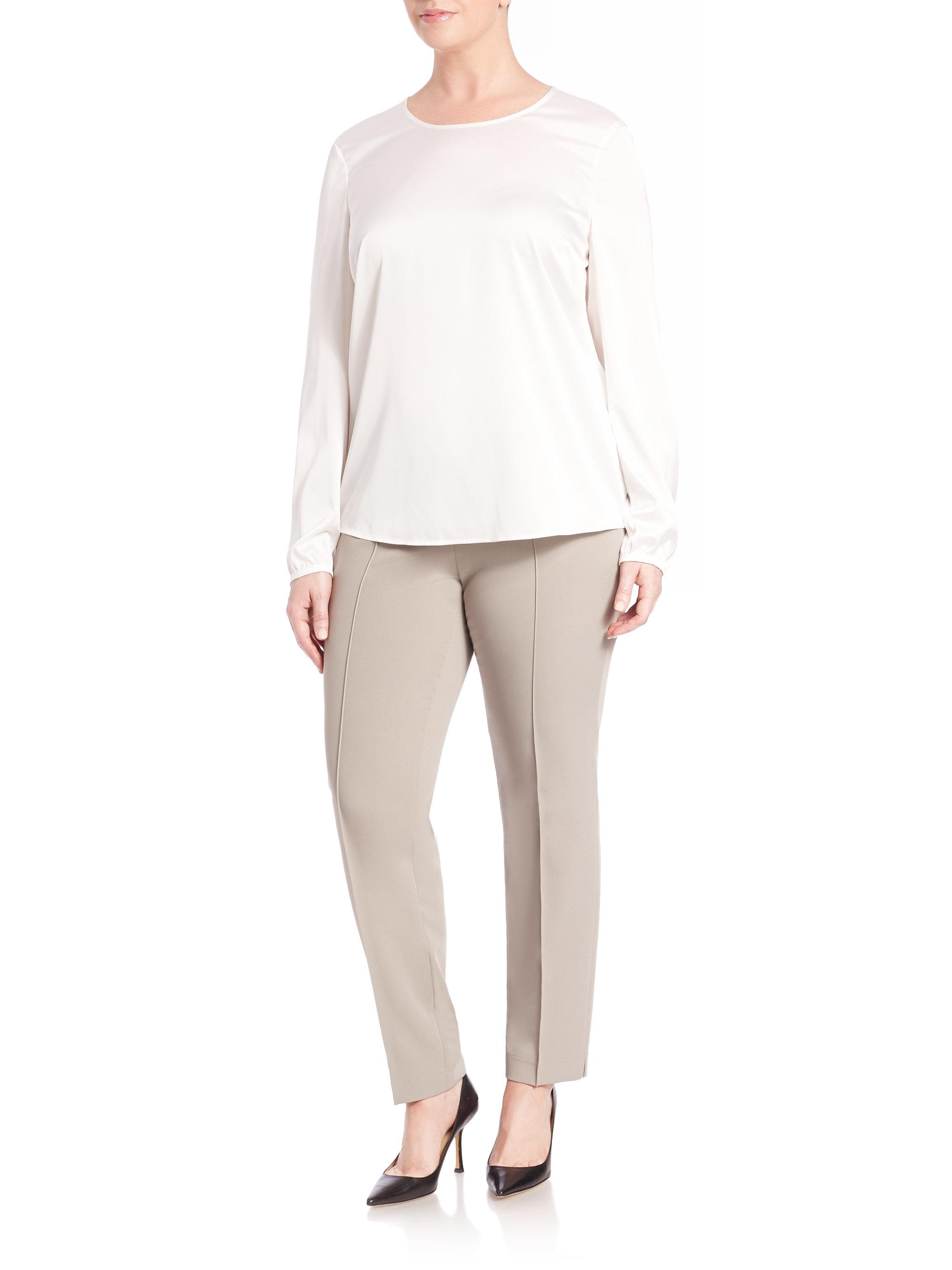 Lyst Basler Lea Techno Stretch Pants In Gray