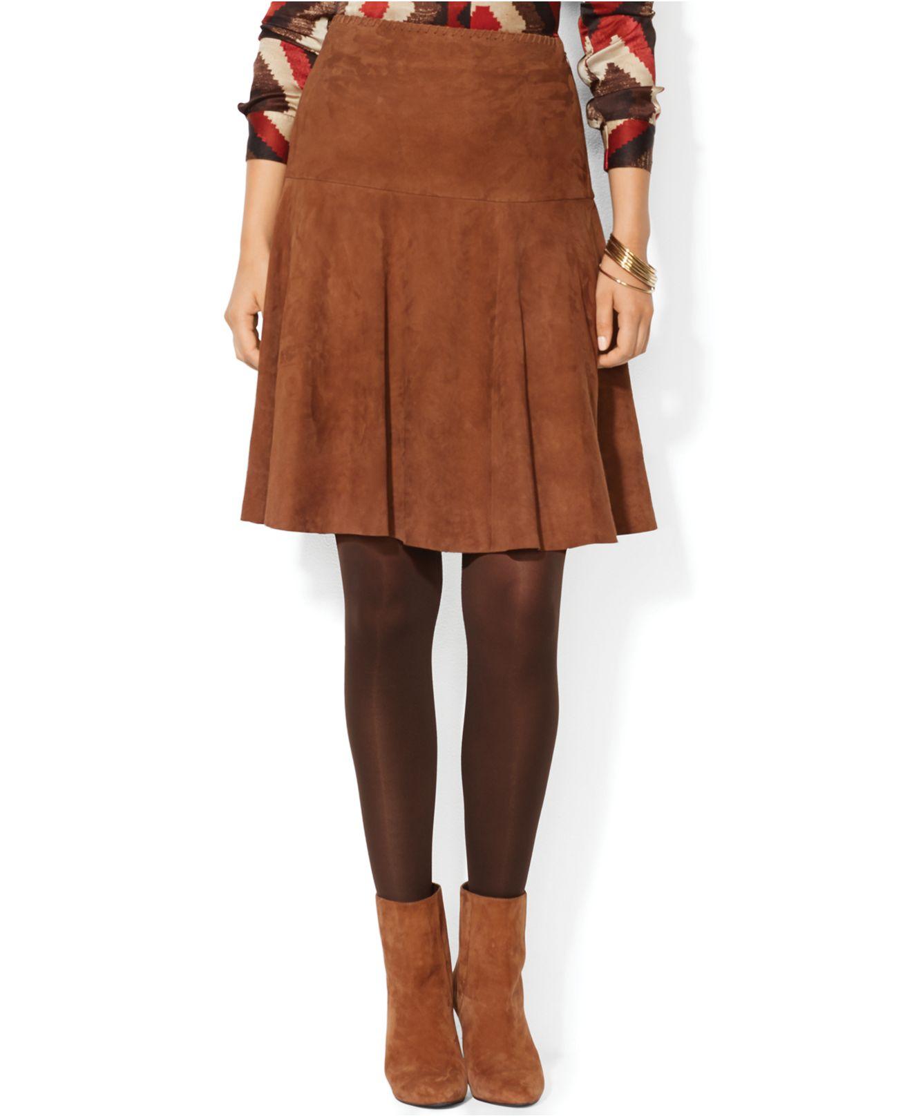 Lauren By Ralph Lauren Fitandflare Suede Skirt In Brown Lyst
