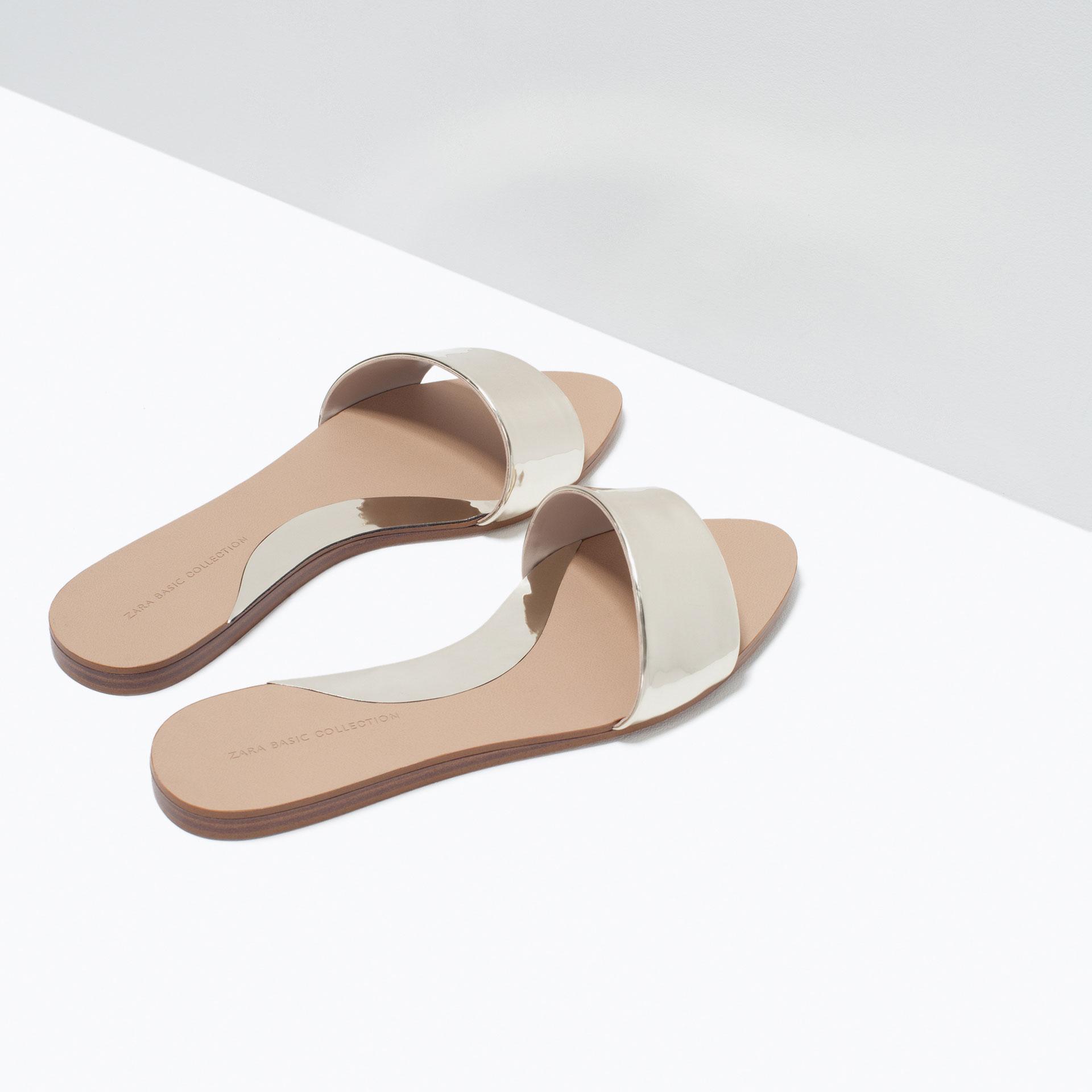 Zara Shiny Flat Slides In Metallic Lyst