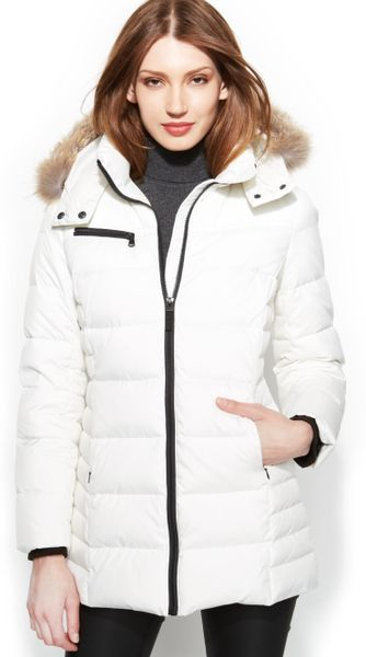 Image Result For Calvin Klein Hooded Faux Fur Trim Quilted Puffer Coat