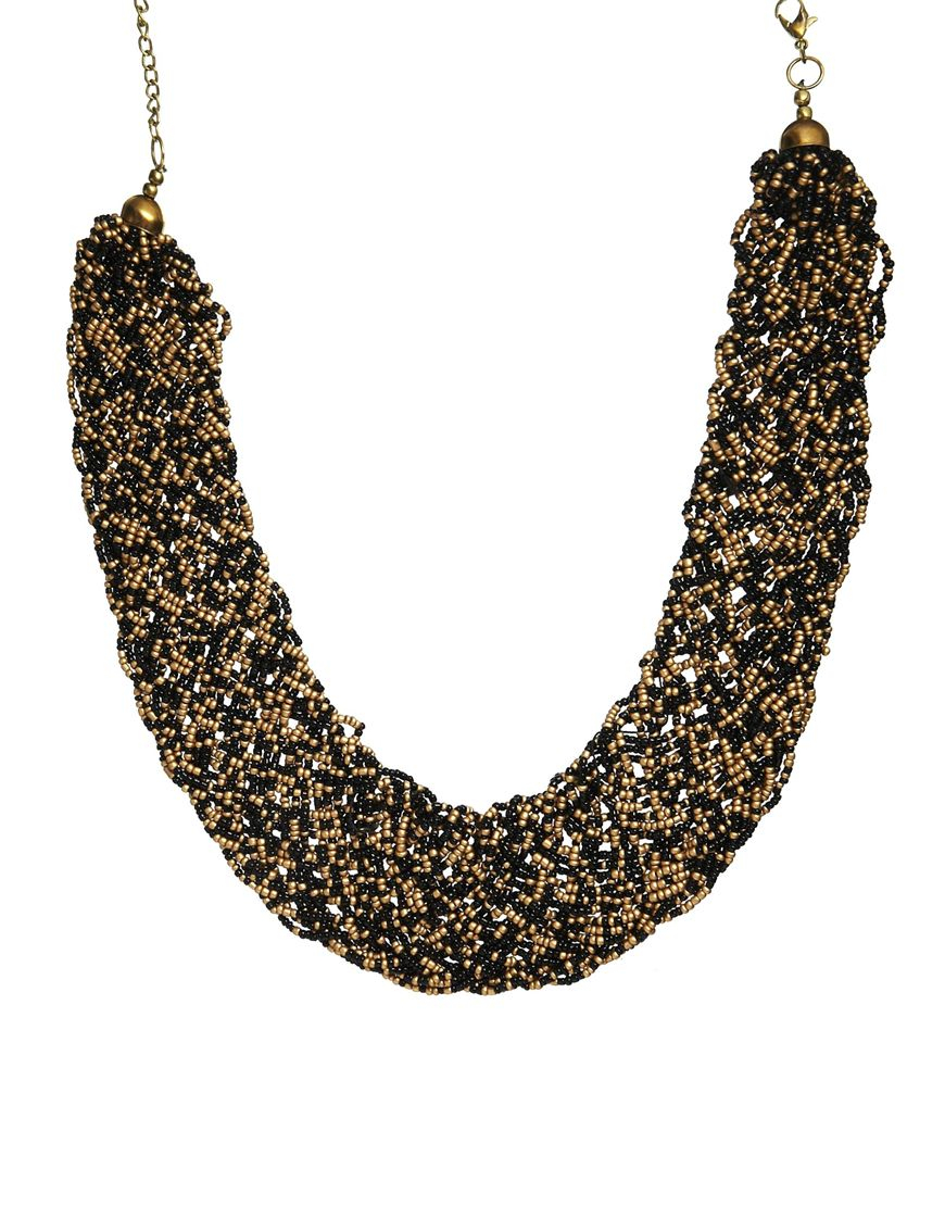 Pullampbear Pull Bear Necklace With Gold Black Beads In